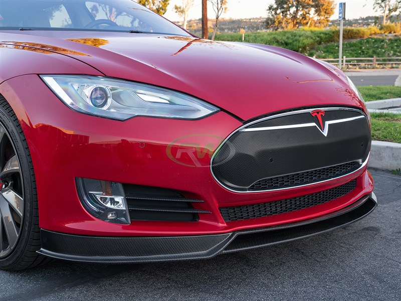 View our new carbon fiber front lip spoiler for the Tesla Model S