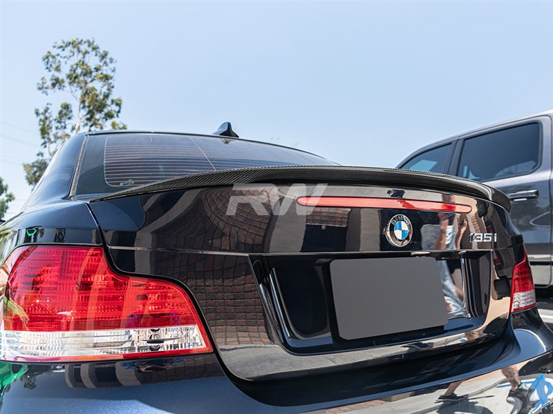 Alpine White BMW E82 135i with an RW Carbon Fiber Performance Style Trunk Spoiler