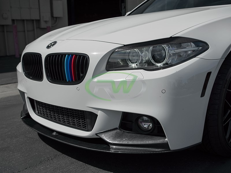 Choose this popular Performance style CF Front Lip for your BMW F10 non m sport