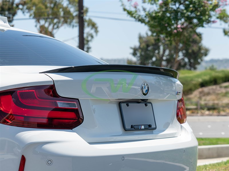 Alpine White BMW F22 with a Performance Style CF Trunk Spoiler from RW carbon