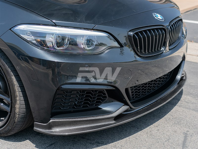 Accentuate your F22 228i or M235i's curves with this 3d design style carbon fiber lip from RW Carbon