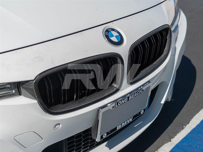 BMW F30 carbon fiber double slat grilles
