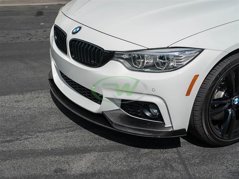 Silver BMW F32 M Sport with a Performance Style Carbon Fiber Front Lip Spoiler