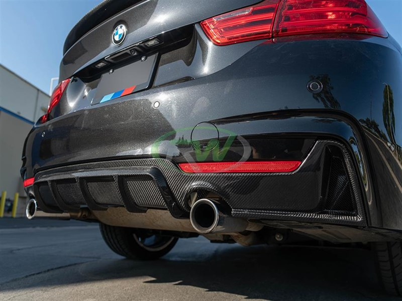Aggressive rear end for your BMW F32/F33/F36 with Performance Style Carbon Fiber Diffuser from RW carbon