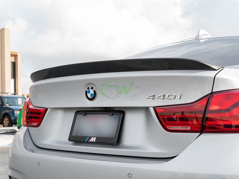 3d design style carbon fiber f36 trunk spoiler from rw carbon. fits 428i and 435i