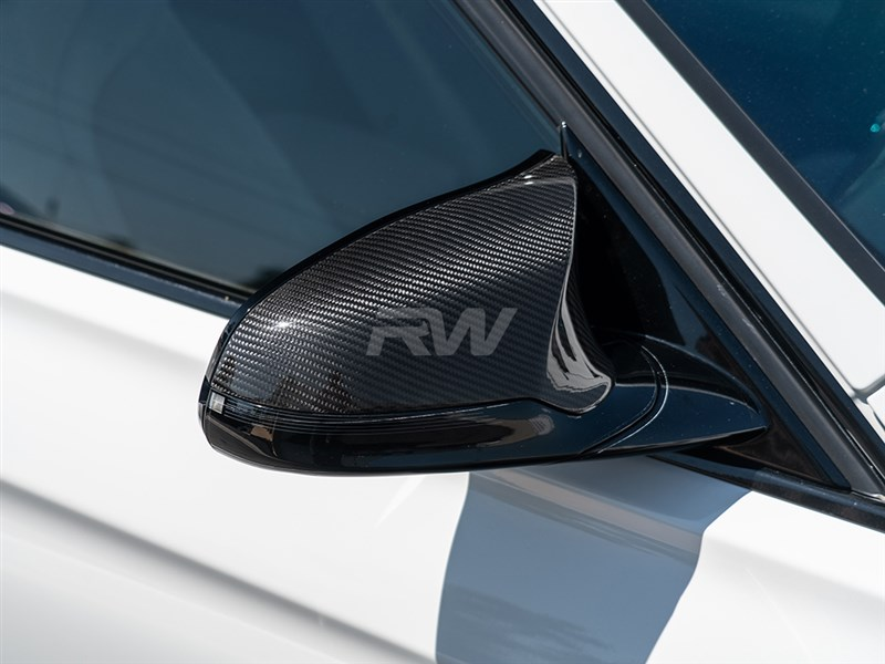 BMW M3 and M4 carbon fiber mirror cap replacements in stock at RW Carbon
