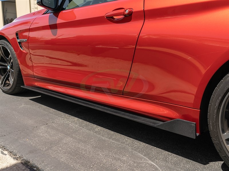 BMW F82 M4 RWS Carbon Fiber Side Skirt Extensions