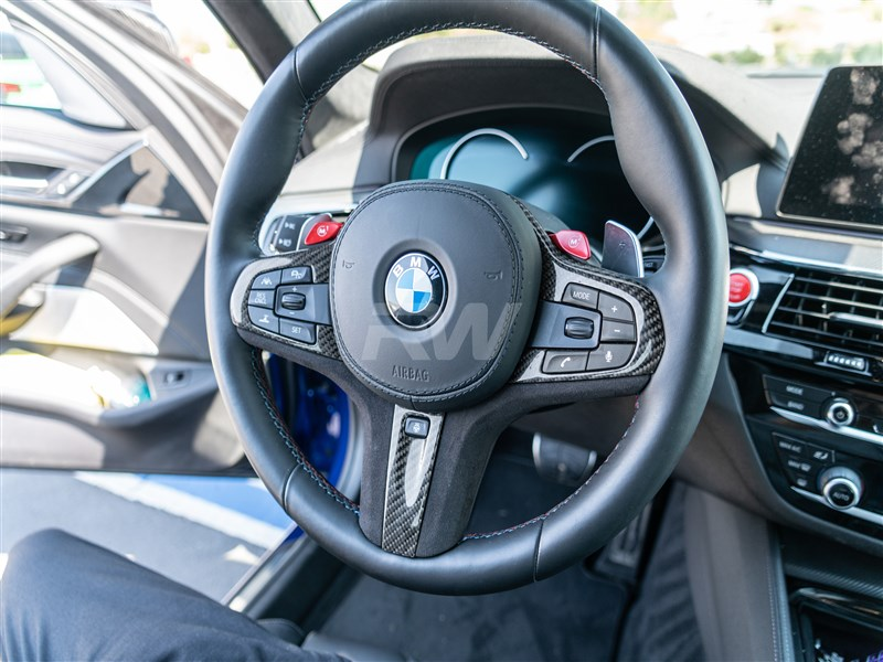 BMW G02 X4 Carbon Fiber Alcantara Steering Wheel Trim