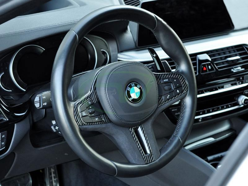 BMW X4M Split Carbon Fiber Alcantara Steering Wheel Trim