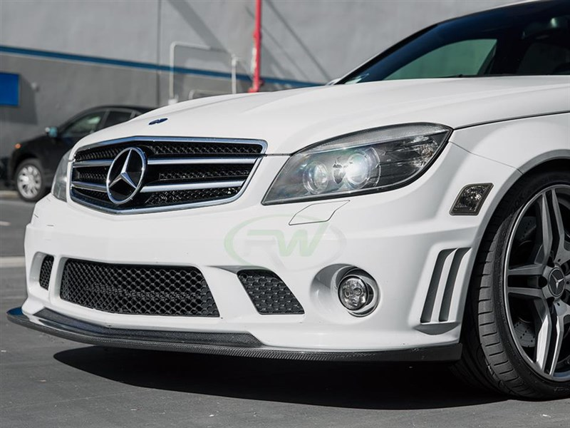 upgraded exterior aero for your 08-11 C63 amg is easy with this arkym style carbon fiber lip