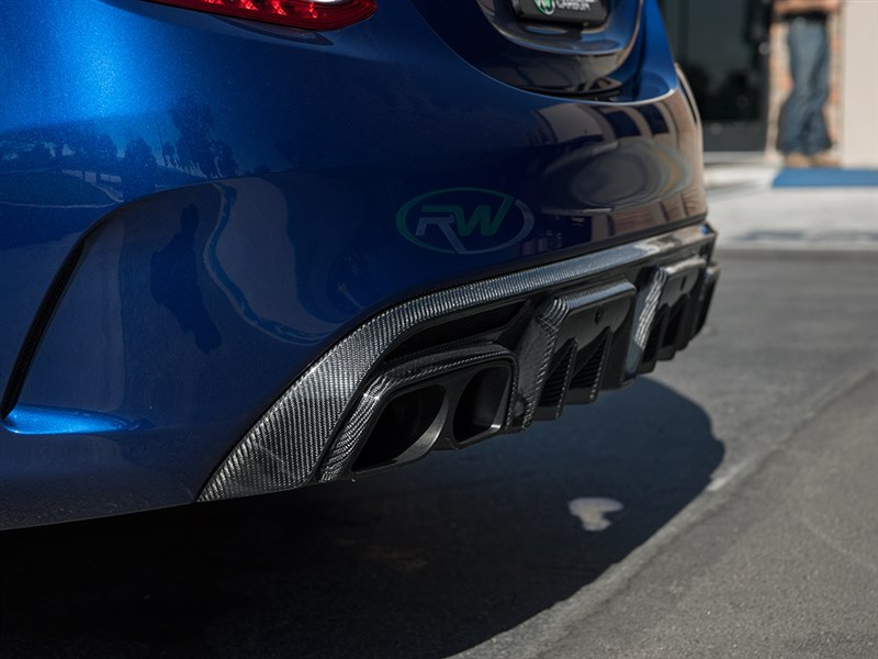 Aggressive brabus style diffuser for w205 c63 c63s sedan with exhaust tips