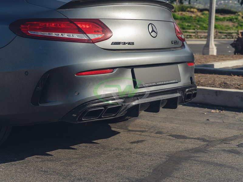 carbon fiber rear diffuser option for W205 c63 and c63s coupe and convertible